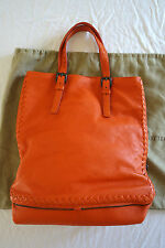 AUTHENTIC BOTTEGA VENETA ORANGE LEATHER CERVO SIDE ZIPPER TOTE BAG  (FLAWLESS!)