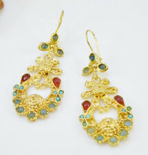 Ottoman Gems semi precious gem stone gold plated earrings Jade Turquoise handmde