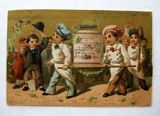 1880s  Liebig Victorian Ad Trade Cards w/ Bakers Carrying Big Liebig Bottle