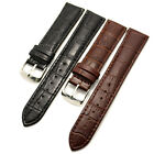 Black/Brown 18/20/22/24/26mm Genuine Leather Wrist Watch Band Steel Buckle Mens