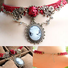 Trendy Red Rose Handmade Lace Necklace Jewelry Women Pendant Valentine's Gifts