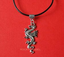 "Tibetan Silver Dragon Charm on an 18"" Real Leather Necklace - Men or Ladies Gift"