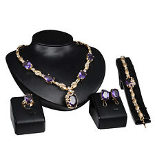 Women Crystal Rhinestone Necklace Earring Bracelet Ring Gold Plated Jewelry Sets