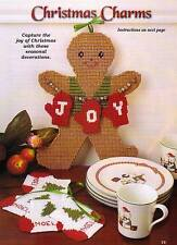 CHRISTMAS CHARMS GINGERBREAD STOCKING COASTER PLASTIC CANVAS PATTERN INSTRUCTION