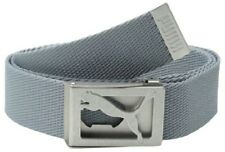 PUMA CAT LOGO CUT-OUT STAPLE CANVAS GOLF BELT GREY GRAY ONE SIZE ADJUSTABLE