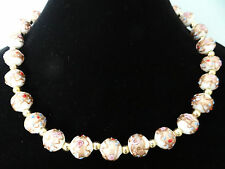 ANTIQUE ART DECO VENETIAN MURANO WEDDING CAKE BEAD NECKLACE ART NOUVEAU GLASS