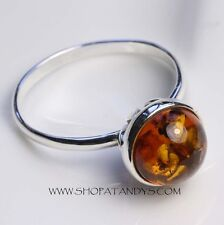 GENUINE COGNAC BALTIC AMBER 925 STERLING SILVER RING SIZE 10
