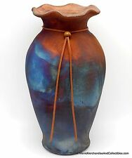 "Raku Vase Pot 12"" Copper Blue Matte Signed J Calhoun Art Pottery Fluted Rim NEW"