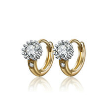 18 k Gold Plated Little Baby Girl Christening Zircon Hoops First Earrings E1125
