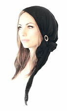 Black Head Scarf Tichel Boho Chic Gorgeous Lace Hair Snood Chemo Hat Cap - 324
