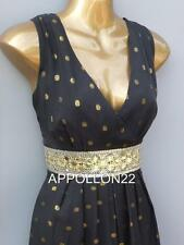 Monsoon Willow Black & Gold Evening Maxi Dress sz 14/Wedding/Party/Cruise