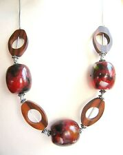 Red Brown wooden chunky Bead Statement Necklace Fair Trade Arty Hippy  Boho 26""