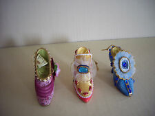 "Set of 3 Ashton Drake ""Stepping in Time"" Shoe Ornaments - 4th Issue"