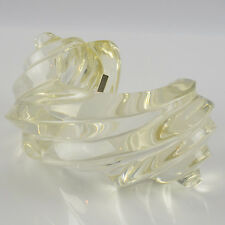 Vintage Uterque Signed Cuff Bracelet Oversized Bold Deeply Carved Clear Lucite