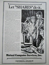 10/1972 PUB CONTINENTAL AIRLINES MUTUAL COMPUTER SERVICES IBM PARS SHARES AD