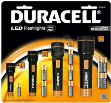 Duracell QTRA Family Pack Of Super Clear LED Flashlights Rubberized Bodies - New