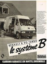 Publicité Advertising 1986 Camion Fourgon Renault B 90 Turbo