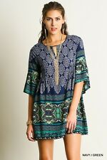 UMGEE Navy Green Boho Chic Peasant Tunic Bell Sleeve Womens Cotton Tunic Dress S