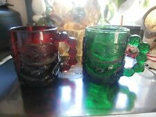 "Pair Christmas snowman 4"" Ruby Red & Green Coffee Mug"