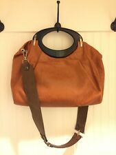 MARNI ORANGE COLOR LEATHER BLACK ACRYLIC HANDLE w BROWN GUITAR STRAP