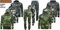 Mens Game Army Camo Camouflage Fleece Tracksuit Hoodie | Zipper | Joggers