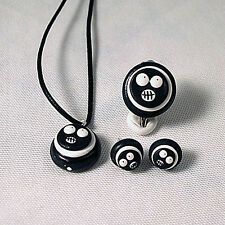 mighty boosh gift set black studs,ring,pendant