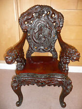 Genuine Antique Chinese Beautifully Carved Dark Hardwood Dragon Chair Armchair