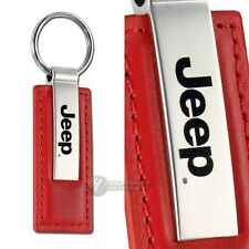 Jeep Logo Rectangle Red Leather Chrome Key Fob Keyring Keychain Lanyard Tag