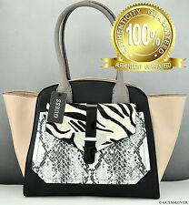 NWT Handbag GUESS SATCHEL Quinn Ladies Black Multi Bag