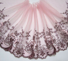 """6.5""""*1yard Embroidered Floral Tulle Lace Trim Sewing/Craft~Pink"""