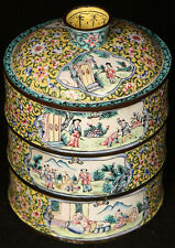 ANTIQUE CHINESE QING DYNASTY CANTON ENAMELED SCENIC LANDSCAPE STACKING FOOD BOX