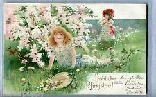 Belle Epoque Augurale Bambine Fiori Sbalzata Oro PC Viaggiata 1905 Tannenzweig