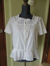 Womens Ralph Lauren 2 Piece White Blouse W/Cami 100% Cotton SZ XS NWT Runs BIG