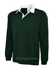 Uneek Classic Rugby Shirt Mens Ladies Long Sleeve Sports Polo Top 100% Cotton