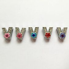 8mm Slide Charms Letter V (5 Piece) US Seller