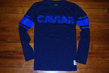 NEW Men's Caviar Cartel Striped Blue Ringer Long Sleeve T-Shirt (Medium)