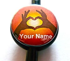 ID STETHOSCOPE NAME TAG,LOVE HEART HAND SYMBOL,NURSE,RN,DOCTOR,HEARNG IMPAIRED.