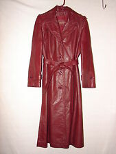 Vintage Etienne Aigner Burgundy Leather Long Spy Trench Coat ~ size 14