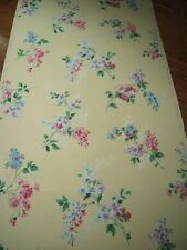 Vtg 50's Mid Century Pink Purple Floral Lilacs w/ Silver Metallic Wallpaper Roll