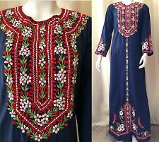Vtg 60s 70s Floral Embroidered Caftan Ethnic Maxi Dress Festival Hippie Blue