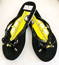 BRAND NEW Kate Spade New York yellow/black/white taxi cab flip flops sandals 7/8