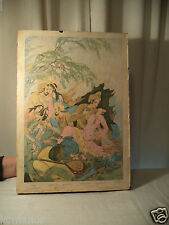 Middle Eastern Vintage Print on Board Signed w/ French English inscription