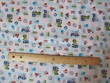 2 Yards White with Blue Roads/Truck/Car/Tractor/Vehicle Flannel Fabric