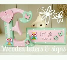 Handmade girls/boys freestanding wooden 150mm letter/name & matching room plaque