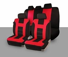 Zone Tech Universal Full Set Red and Black Car Seat Covers Racing Style Sport