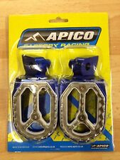 YAMAHA YZ250  YZ 250 2001-2017 BLUE APICO PRO BITE WIDE FOOTPEGS FOOT RESTS PEGS