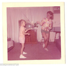 60s young MOD  GIRLS DANCE around small TV n living room Vintage color PHOTO