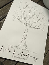 Personalised Vintage/Rustic white A3 Wedding Finger Print Tree