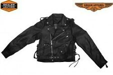 Teens Leather Motorcycle Jacket With Snap Down Collar