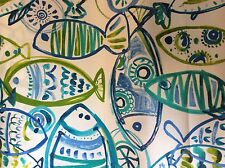 FUNKY FISH STYLIZED PRINT AQUA COBOLT BLUE LIME GREEN OUTDOOR UPHOLSTERY  FABRIC